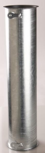 Rohr Ø100, Ein- u. Ausgang mit Bördelrand, Stahl verzinkt, 500-1000mm, 2x Erdungslaschen
